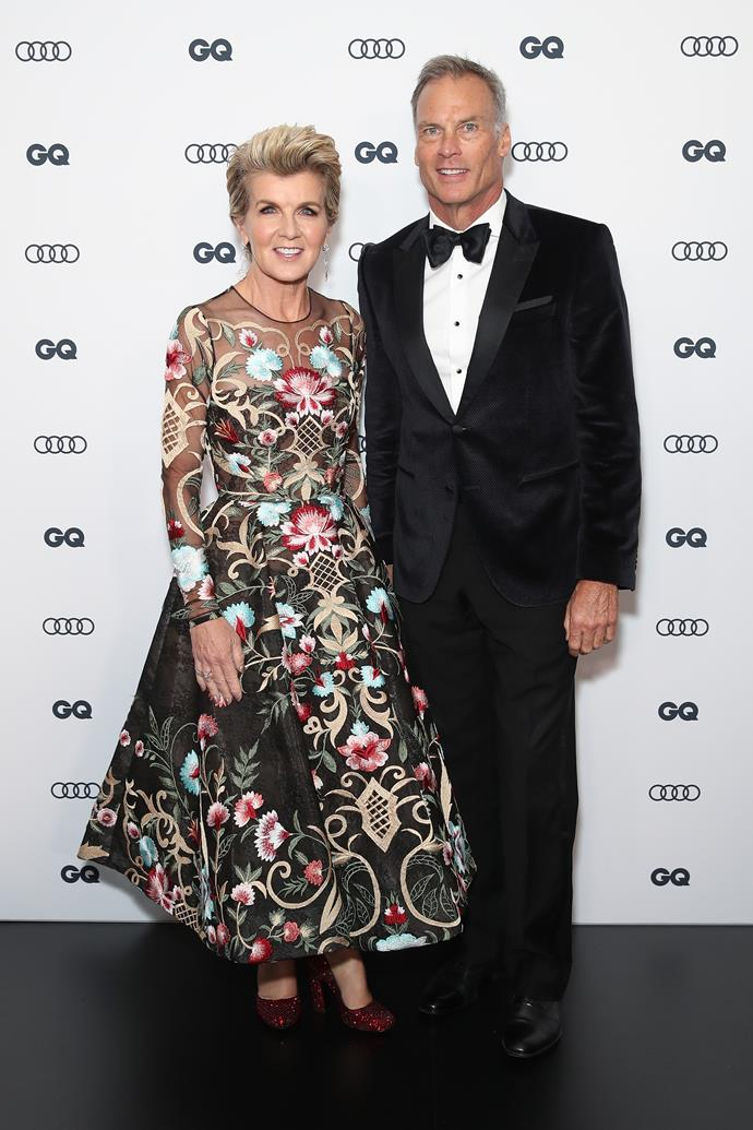Julie Bishop looked incredible in this printed design at the *GQ* Men of the Year Awards on Thursday evening.