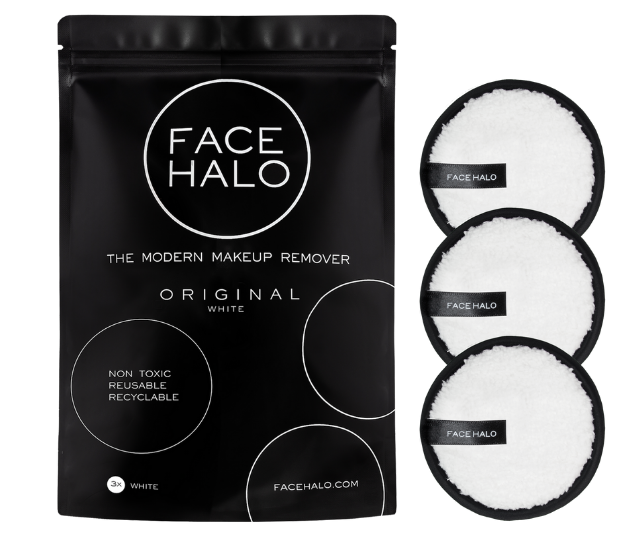 **Face Halo 3 pk, $30.00:** A great gift for your eco-conscious consumer. These modern makeup removers are made from unique Halotech microfibre and replace up to 500 disposable makeup wipes. Each Face Halo is re-usable for up to 200 machine washes. There is no need for chemicals, just plain water to remove all makeup, even the waterproof stuff!