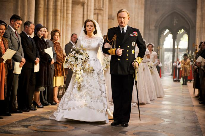 "According to Claire Foy who played the Queen in the first two seasons, the wedding dress ""weighed a ton""."