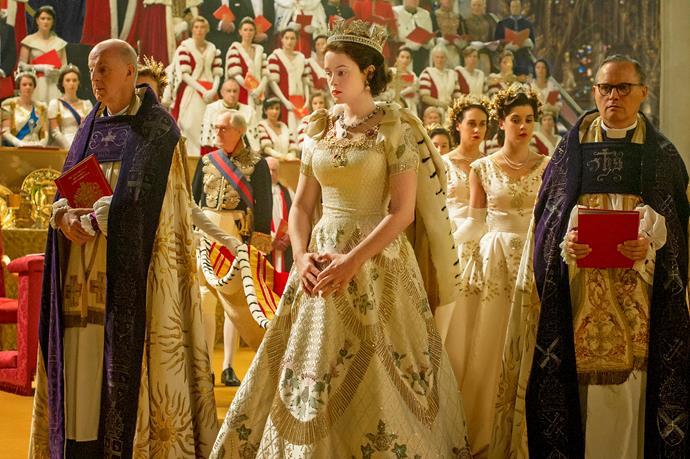 The Australian wattle features on Elizabeth's coronation gown.