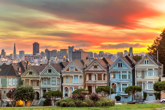 Make sure to stop by the Painted Ladies At Alamo Square to see the contrast between the Victorian houses and city skyline.