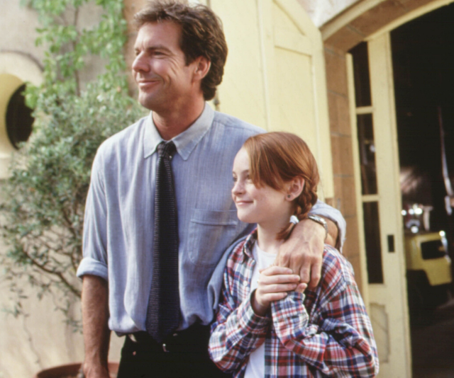 Lindsay Lohan and Dennis Quaid in the classic movie about the fallout from divorce, *The Parent Trap*.