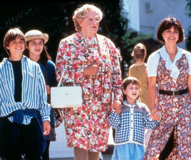 Robin Williams and Sally Field in *Mrs Doubtfire*, which documents one father's desperate attempt to remain close to his children, even after divorce.