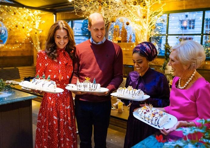 Kate, William and Mary flank *Bake Off* winner Nadiya Hussain as they show off their culinary skills during the Christmas special.
