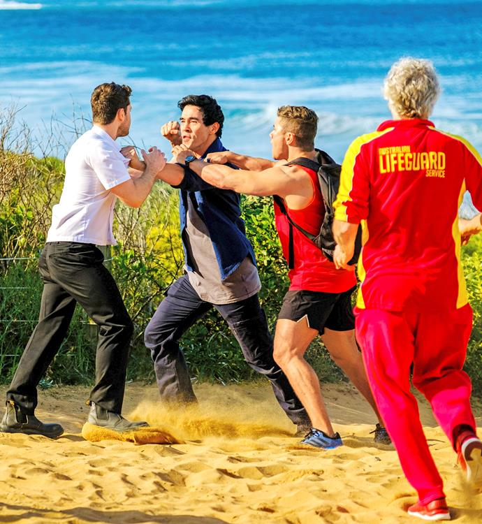 **JUSTIN ATTACKS BRODY** <br><br> The steamy affair between chef Brody (Jackson Heywood) and Simone (Emily Eskell) was bound to cause heartache. So, when his brothers Justin and Mason (Orpheus Pledger, above right) learnt the full extent of his betrayal, the trio ended up in a brawl on the beach!