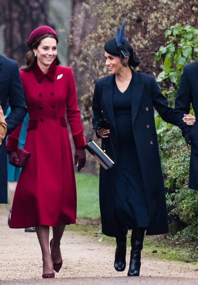 Kate and Meghan's coat + hat ensembles only made us want more joint appearances from the trendy in-laws!