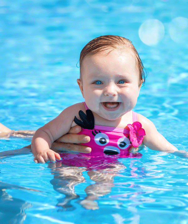 If your child is under five, keep your child safe in the water by always keeping them within arm's reach.