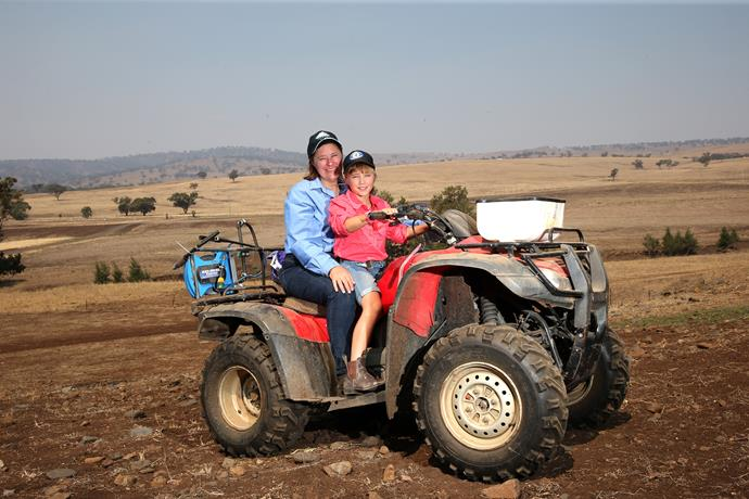 One Day Closer To Rain, founder Cassandra with daughter Emma, on their drought-stricken Merriwa farm.