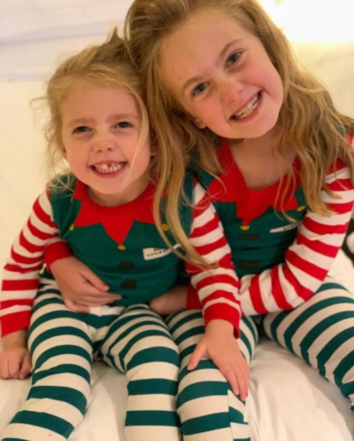 Are those two adorable elves we spy? No, it's Grant and Chezzi Denyer's daughters Scout and Sailor in their festive PJs.