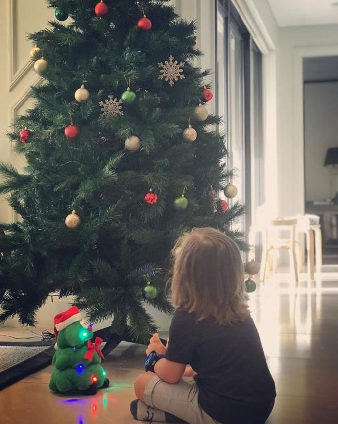 """This is his first Christmas where he gets it... We are beyond excited for him."" Looks like Michelle Bridges and Commando Steve's little one Axel is waiting for Santa."