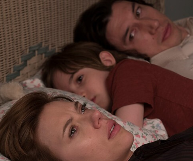 Scarlett Johansson (left) and Adam Driver (right) play a couple going through a divorce in the new movie *Marriage Story*.
