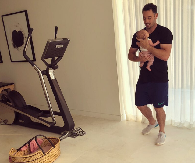 "Jen's husband Jake holds onto Frankie in the couple's home gym, while Jen did a light workout on the treadmill. ""My gym buddies😍"" Jen captioned this sweet pic."