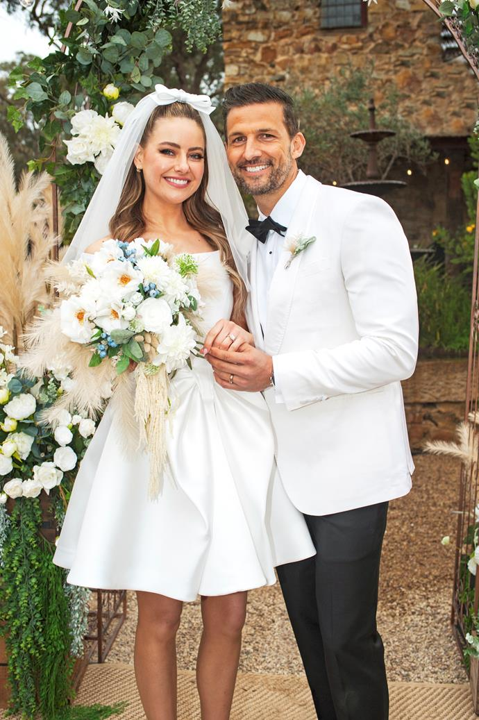 """Chloe and Pierce are glowing with happiness.  <br><br> """"Our amazing costume designer made the dress himself,"""" April Rose reveals. """"He let me have input on the design and I really love what we came up with."""""""