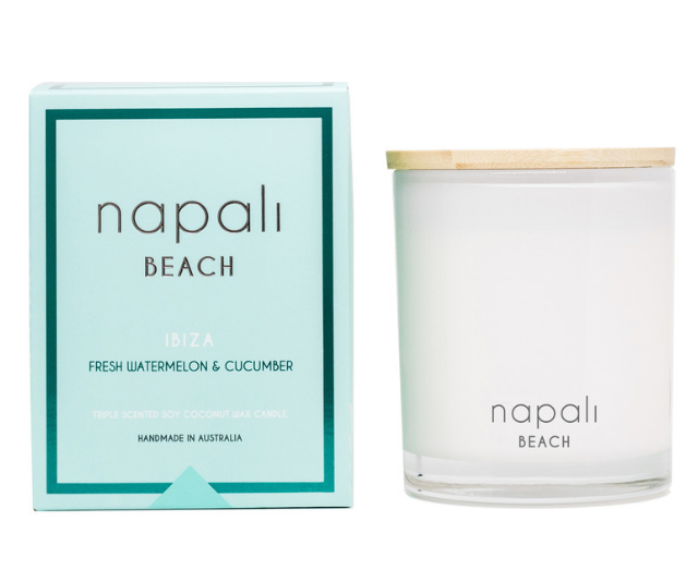 **Napali, Ibiza Fresh Watermelon and Cucumber scented candle, RRP $39.99:** You may scoff that the idea of gifting a scented candle is a little naff, but what you should know is that there are candles, then there are cannnnnndle candles. This is the latter. Napali is famous for creating the kind of scents that make you feel something. Rich, cleverly created scents that don't feel cloying or fake. Even ripping off the gift paper the person you chose for this delicious gift will want to light up that wick before you can say regift.