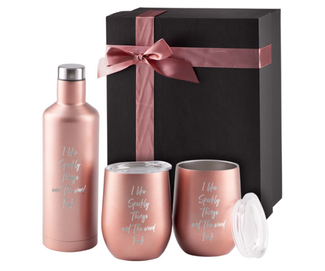 **I Like Sparkly Things and The Word F@#k Gift Set, $79.99:** Know someone a little sassy who appreciates the fine art of swearing? There'll definitely be no regifting of this cheeky set from inappropriate gift suppliers, Far Kew Emporium. Until you look a little closer, this looks like beautiful rose gold gift set containing two stainless steel vacuum tumblers with lids, keeping your drinks hot or cold for hours and a handy, eco-friendly stainless steel bottle with funnel. Take a closer look and you'll see it's the ultimate gift choice for those associates of yours who love sparkly things and dropping the f-bomb.