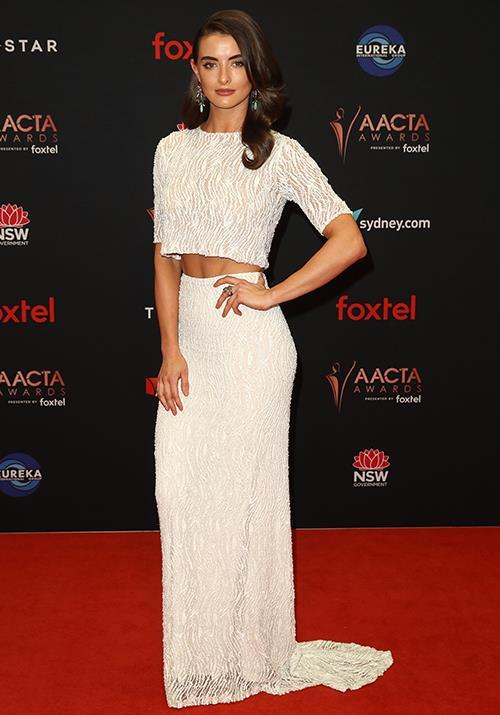 Stunning Aussie actress Celia Massingham drew eyeballs in this striking white two-piece number.