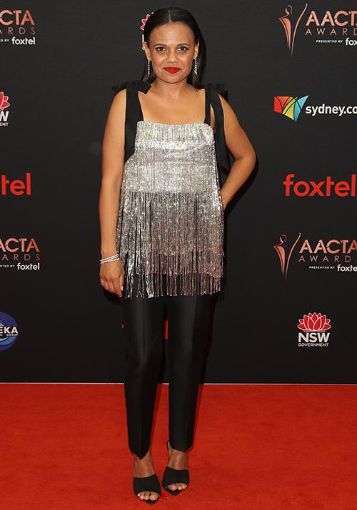 *Top End Wedding* star Miranda Tapsell adds a touch of tassle. Love the pants, too!