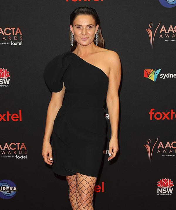 *Wentworth* star Danielle Cormack rocks an off-the-shoulder LBD to perfection.