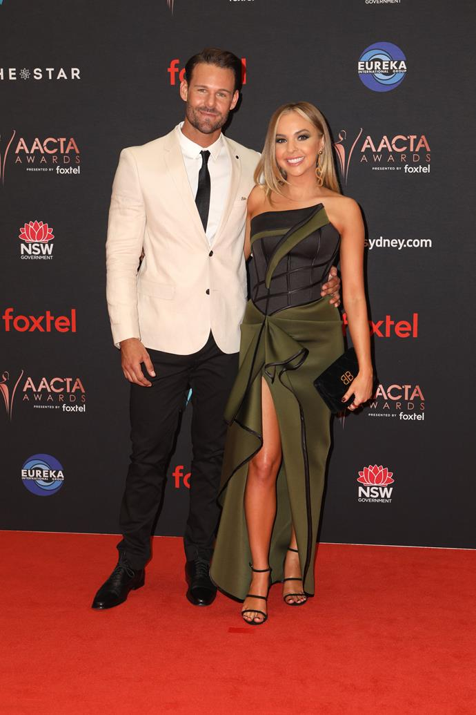 Angie and Carlin were all loved-up on the AACTAs red carpet.