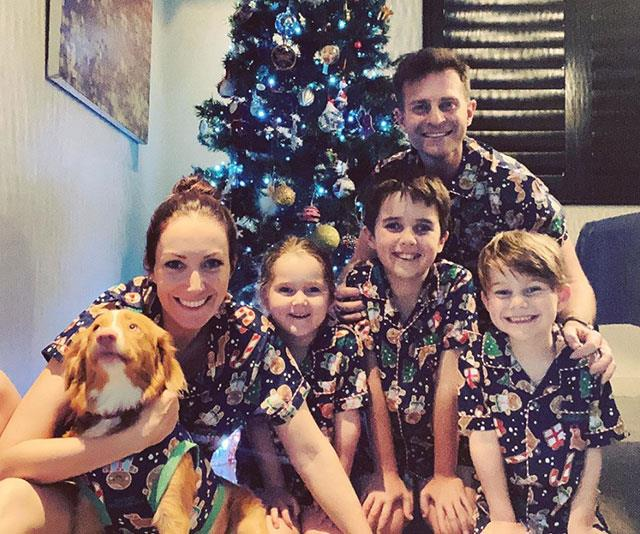 **David Campbell** <br><br> How gorgeous is this photo David Campbell shared of his family in matching Christmas outfits in front of their tree?!