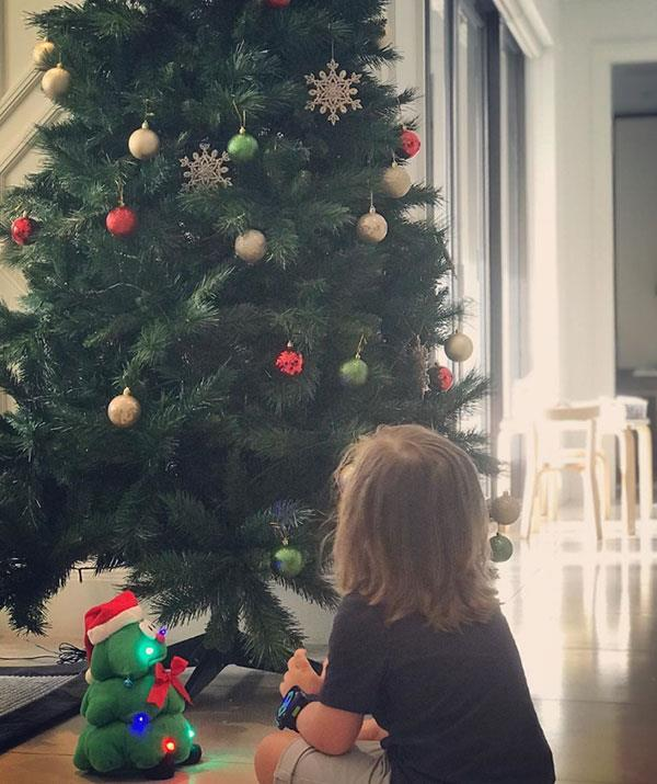 "**Michelle Bridges** <br><br> Michelle Bridges shared this gorgeous snap of [son Axel](https://www.nowtolove.com.au/parenting/celebrity-families/michelle-bridges-son-57188|target=""_blank"") in front of the Christmas tree, captioning it: ""This is his first Christmas where he gets it... We are beyond excited for him."""
