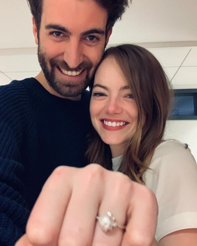 **Emma Stone and David McCary** <br><br> Oscar-winner Emma Stone is set to tie the knot with her *Saturday Night Live* writer and segment director boyfriend David McCary who shared the happy news on his Instagram account. The couple have been dating since 2017.