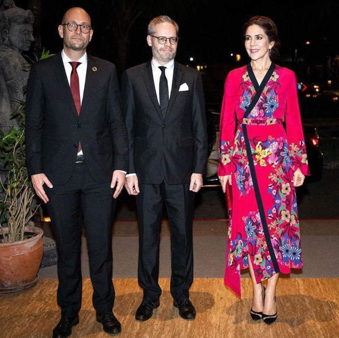 At a dinner hosted by the Danish embassy, Crown Princess Mary wore an Etro pink floral kimono-style dress that is another favourite from her royal wardrobe.