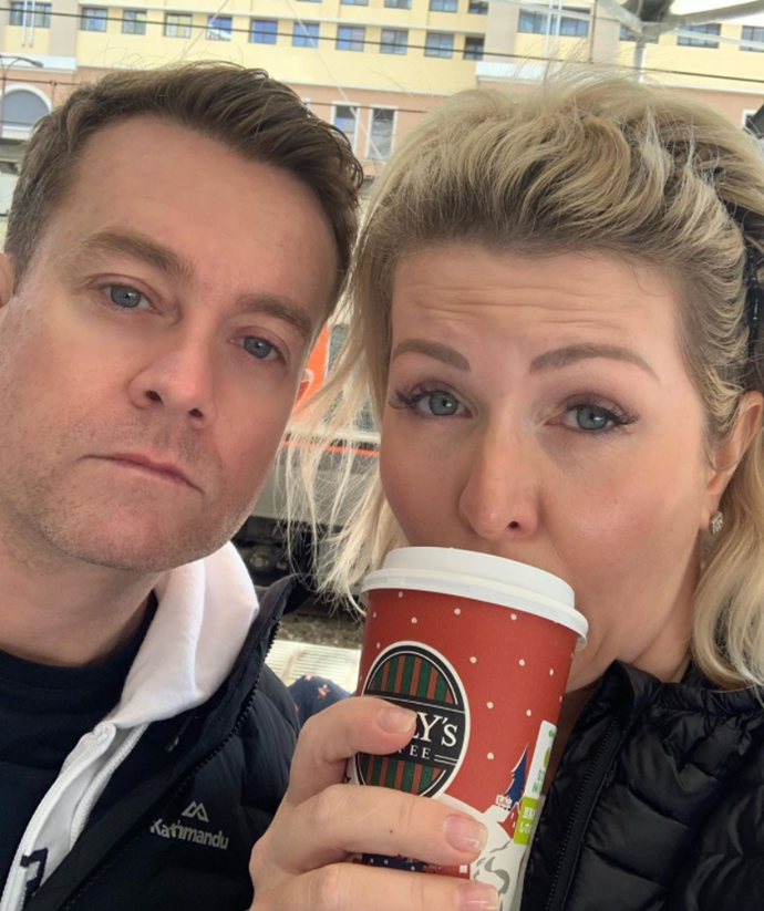 Grant Denyer with wife Chezzi Denyer in what was meant to be a relaxing family holiday in Japan.