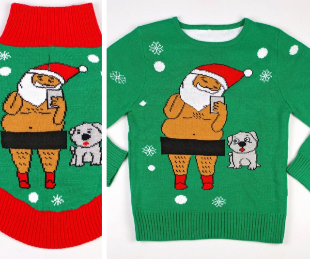 "**Funky Tails Ugly Christmas Selfie Sweater**  <br><br> **[$45 from Funky Tails](https://www.funkytails.com/collections/dog-ugly-christmas-sweaters/products/dog-ugly-christmas-sweater-santa-selfie|target=""_blank"")**"