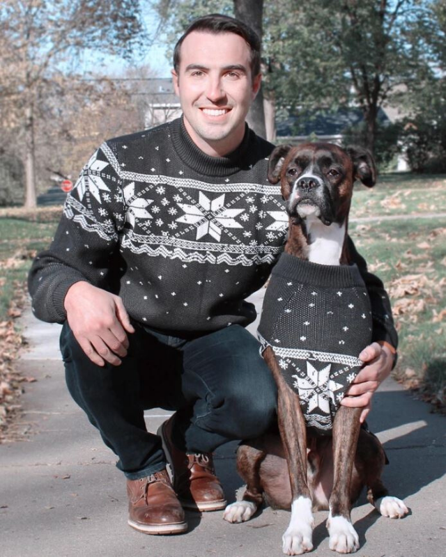 "**Deck the Halls Sweater** <br><br> **[$42 from Dog Threads](https://shopdogthreads.com/collections/twinning/products/deck-the-halls-matching-sizes-for-dogs-humans|target=""_blank""