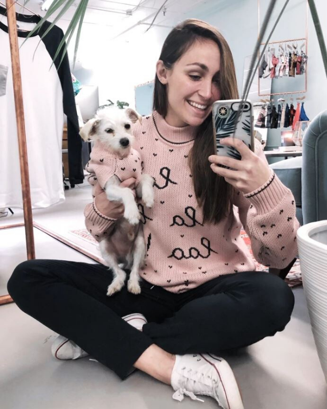 "**Holly Jolly Pink Sweater** <br><br> **[$42 from Dog Threads](https://shopdogthreads.com/collections/twinning/products/merry-and-bright-sweater-matching-sizes-for-dogs-humans|target=""_blank""
