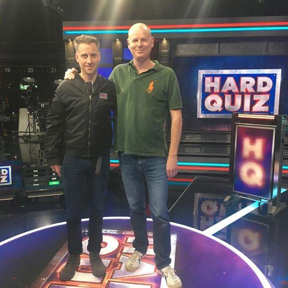 Chris and Tom on the set of *Hard Quiz*.
