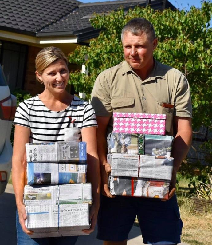 Elzette, with husband Murray, is hoping to make a difference with her shoebox donations.