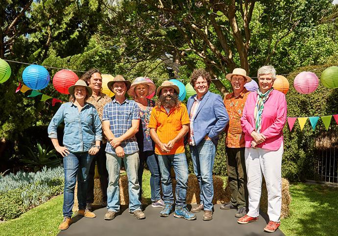Costa Georgiadis (centre) and the Gardening Australia team