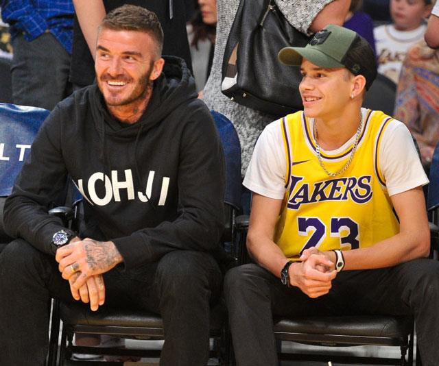 David Beckham, pictured here with son Romeo, is regularly found courtside at a LA Lakers game at Staples Center.