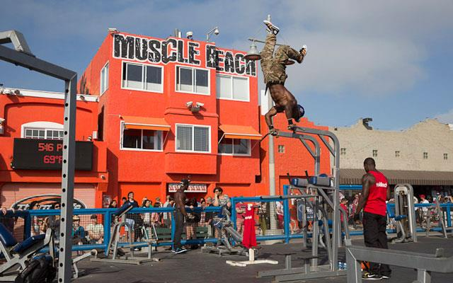 You might be surprised who you see working out Venice Beach's Muscle Beach - or even just walking their sigs along the famous boardwalk.