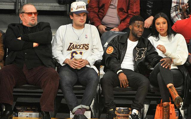 Jack Nicholson (far left) with his son Ray, comedian Kevin Hart and his wife Eniko Parrish courtside at the Lakers game at Staples Center.