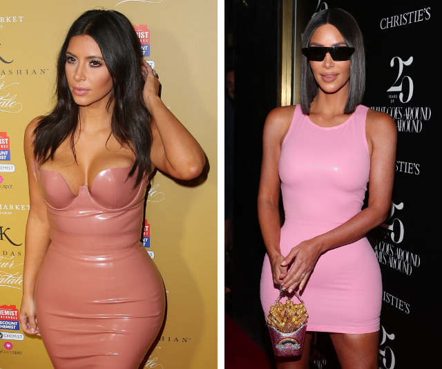 Kim Kardashian (pictured left in 2014 and right in 2018) lost weight by exercising most days and keeping her diet check.