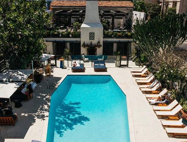 Hotel Figueroa's pool - heated to a comfortable 27 degrees, overlooked by its Mexican restaurant Veranda, and home to some very cool twilight DJ sets.