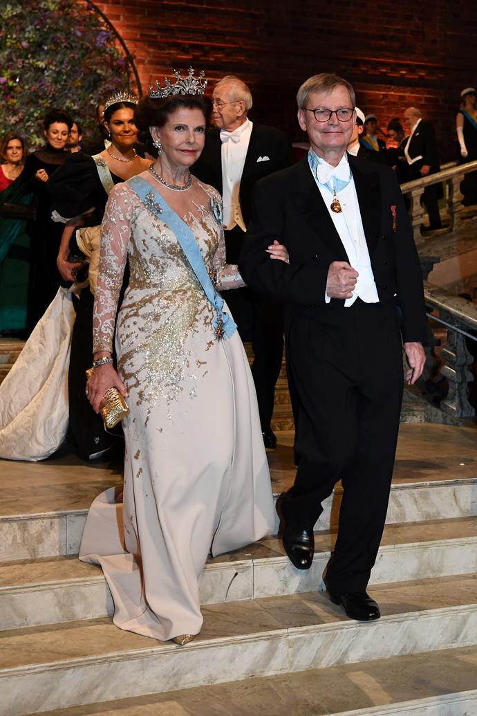 Queen Silvia looked gorgeous in an Elie Saab design.