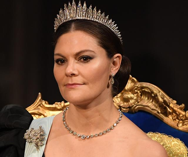 Crown Princess Victoria has worn one of her most striking gowns to date.