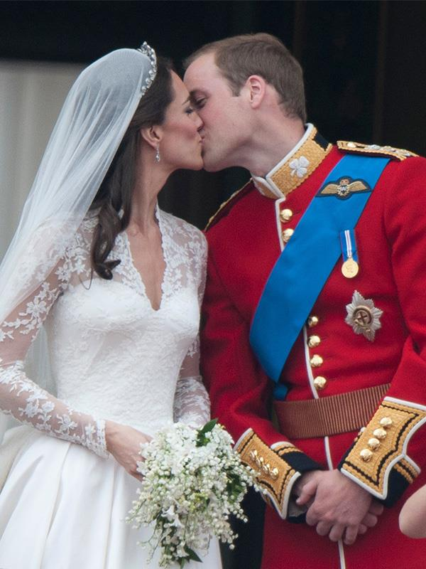 Sealed with a kiss! The happy couple on their wedding day in April 2011.