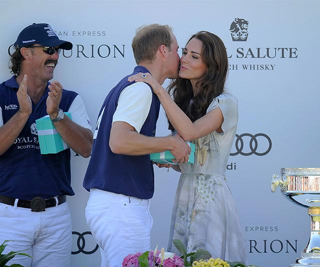 Kate rewarded William with a kiss on the cheek following a charity polo match in 2012.