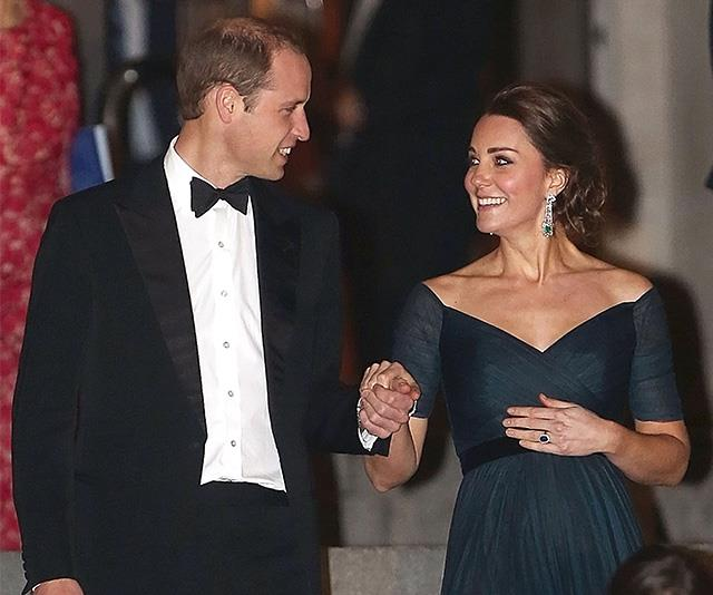 Kate was pregnant with Princess Charlotte here in 2014 when she attended an evening black tie event with Prince William, who protectively held Kate's hand as she navigated some steep steps in high heels.