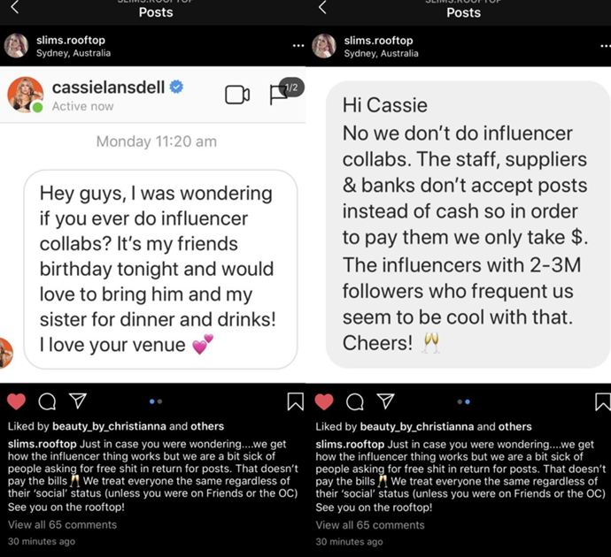 The now deleted post by the rooftop bar exposing Cassie.