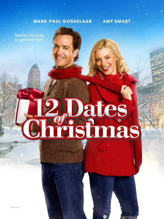 **12 Dates of Christmas (2011)** <br><br> This classic so-bad-it's-good movie starring Amy Smart and Mark-Paul Gosselaar follows a woman who finds herself reliving Christmas Eve over and over again. She must discover how to break the cycle to win back her boyfriend (or maybe find a new one).