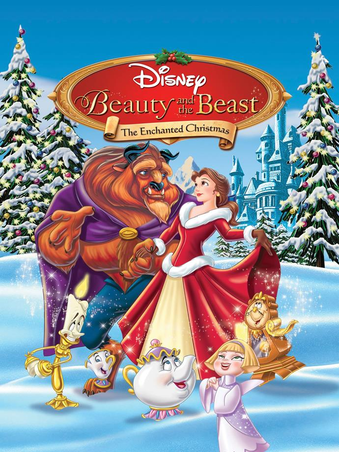 **Beauty and the Beast: The Enchanted Christmas (1997)** <br><br> Following the original Disney classic, the film follows everybody in the castle as they prepare for Christmas back when they were still under the spell. Told by Mrs. Potts we see what happened after Beast saved Belle from the wolves and they celebrated Christmas.