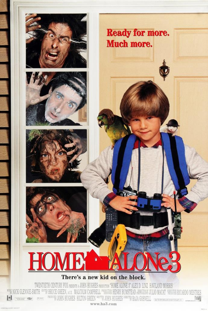 **Home Alone 3 (1997)** <br><br> This time, we follow Alex Pruitt (Alex D. Linz) who witnesses international thieves breaking in to homes on his street during sick days away from the school.