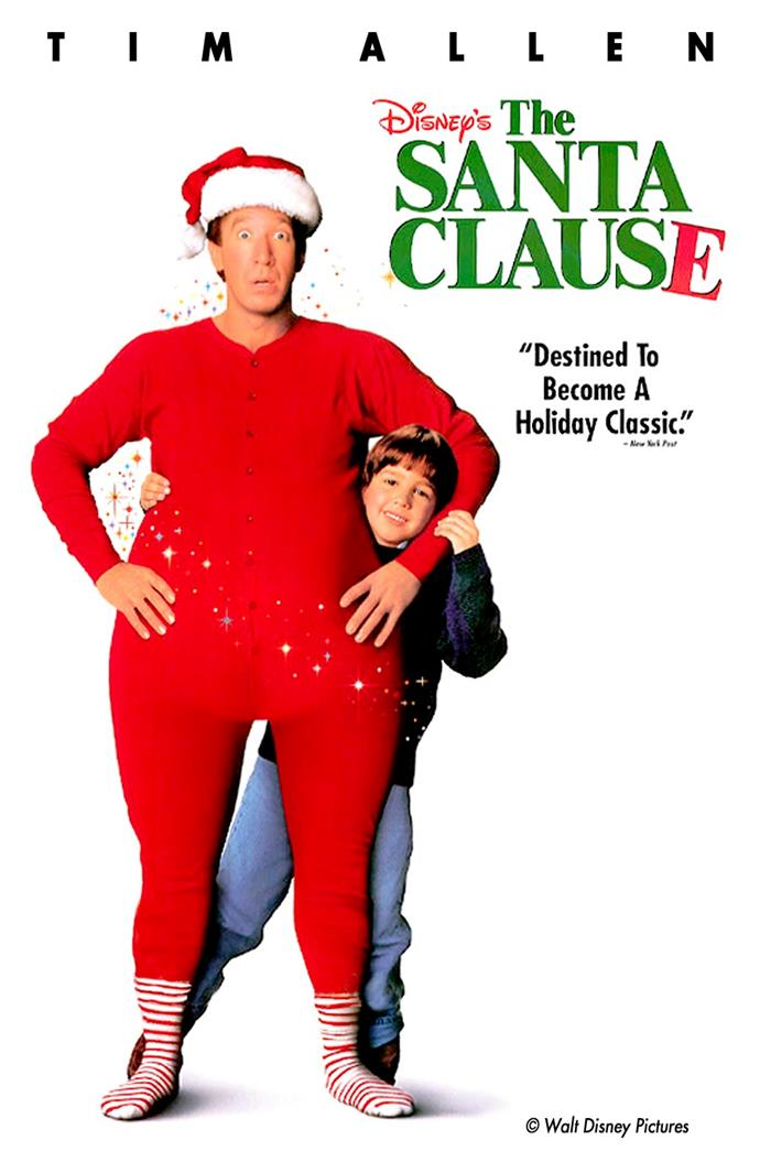 **The Santa Clause (1994)** <br><br> After accidentally killing Santa, Scott Calvin (Tim Allen) begins transforming in to the next Kris Kringle. He has to deal with a suspicious ex-wife while trying to keep his secret safe.