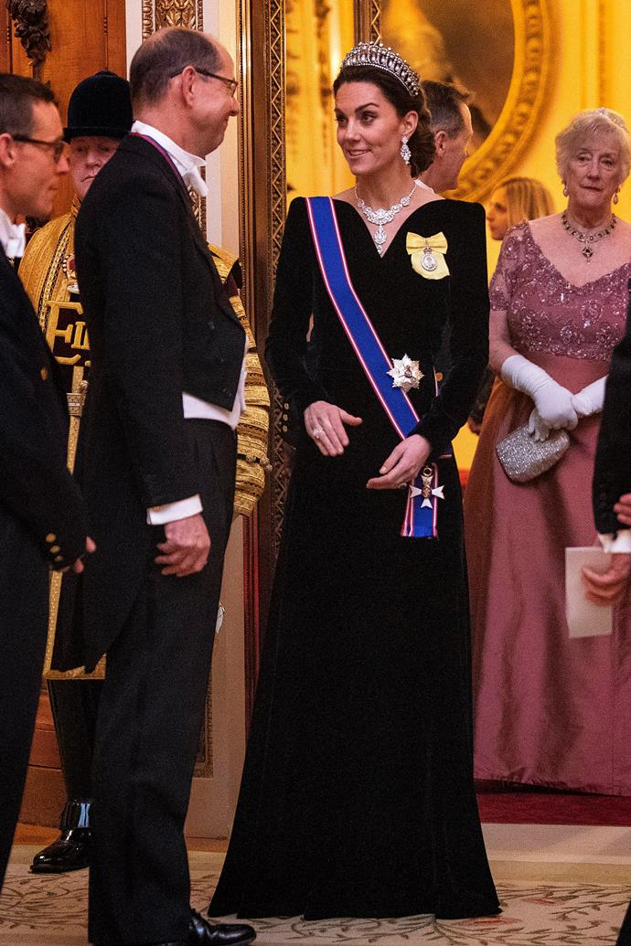 Kate's heavenly Alexander McQueen dress featured a V-neckline and capped shoulders.